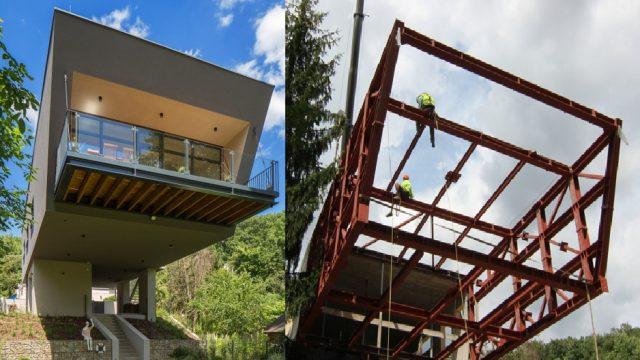 Lietajúci dom 3: Oceľová rámová konštrukcia, skelet a drevená konštrukcia